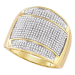 Mens Ring Natural Round 0.85 Carats Diamond Solid 10Kt Yellow Gold Hip Hop Ring