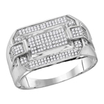 Hip Hop Ring Natural Round 0.36 Carats Diamond Solid 10Kt White Gold Hip Hop Ring