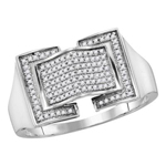Hip Hop Diamond Ring Natural Round 0.25 Carats Diamond Solid 10Kt White Gold Hip Hop Ring