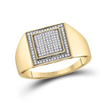 Mens Diamond Ring Natural Round 0.26 Carats Diamond Solid 10Kt Yellow Gold Hip Hop Ring