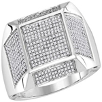 Mens Gold Ring Natural Round 0.79 Carats Diamond Solid 10Kt White Gold Hip Hop Ring