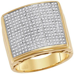 Hip Hop Ring Natural Round 0.75 Carats Diamond Solid 10Kt Yellow Gold Hip Hop Ring