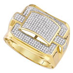Hip Hop Gold Ring Natural Round 0.8 Carats Diamond Solid 10Kt Yellow Gold Hip Hop Ring