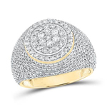 Mens Ring Natural Round 2 Carats Diamond Solid 10Kt Yellow Gold Hip Hop Ring