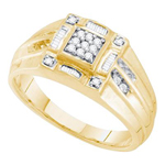 Hip Hop Ring Natural Round 0.27 Carats Diamond Solid 14Kt Yellow Gold Hip Hop Ring
