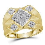 Mens Ring Natural Round 0.33 Carats Diamond Solid 10Kt Yellow Gold Hip Hop Ring