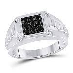 Hip Hop Ring Natural Round 0.05 Carats Diamond Solid 10Kt White Gold Hip Hop Ring