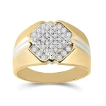 Hip Hop Gold Ring Natural Round 0.5 Carats Diamond Solid 10Kt Yellow Gold Hip Hop Ring