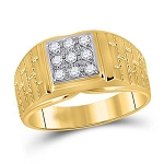 Hip Hop Diamond Ring Natural Round 0.25 Carats Diamond Solid 10Kt Yellow Gold Hip Hop Ring