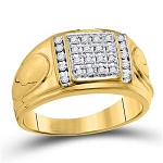 Mens Diamond Ring Natural Round 0.25 Carats Diamond Solid 10Kt Yellow Gold Hip Hop Ring
