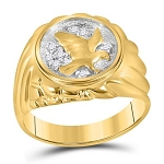 Mens Gold Ring Natural Round 0.1 Carats Diamond Solid 10Kt Yellow Gold Hip Hop Ring