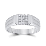 Hip Hop Gold Ring Natural Round 0.12 Carats Diamond Solid 10Kt White Gold Hip Hop Ring