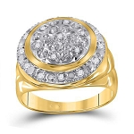 Hip Hop Ring Natural Round 0.25 Carats Diamond Solid 10Kt Yellow Gold Hip Hop Ring