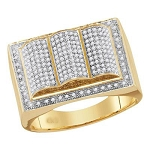 Hip Hop Diamond Ring Natural Round 0.7 Carats Diamond Solid 10Kt Yellow Gold Hip Hop Ring