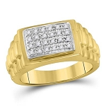 Mens Ring Natural Round 0.2 Carats Diamond Solid 10Kt Yellow Gold Hip Hop Ring