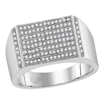 Hip Hop Ring Natural Round 0.35 Carats Diamond Solid 10Kt  Gold Hip Hop Ring