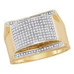 Hip Hop Diamond Ring Natural Round 0.5 Carats Diamond Solid 10Kt Yellow Gold Hip Hop Ring