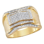 Mens Diamond Ring Natural Round 0.33 Carats Diamond Solid 10Kt Yellow Gold Hip Hop Ring