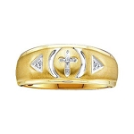 Mens Gold Ring Natural Round 0.04 Carats Diamond Solid 14Kt Yellow Gold Hip Hop Ring