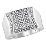 Hip Hop Gold Ring Natural Round 0.3 Carats Diamond Solid 10Kt White Gold Hip Hop Ring