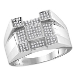 Hip Hop Diamond Ring Natural Round 0.33 Carats Diamond Solid 10Kt White Gold Hip Hop Ring