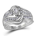 Mens Ring Natural Round/Marquise/Baguette 0.39 Carats Diamond Solid 14Kt White Gold Hip Hop Ring