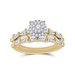 Hip Hop Gold Ring Natural Round/Baguette 0.99 Carats Diamond Solid 14Kt Yellow Gold Hip Hop Ring