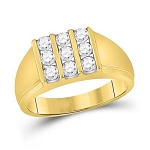 Hip Hop Ring Natural Round 0.94 Carats Diamond Solid 14Kt Yellow Gold Hip Hop Ring