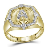 Hip Hop Gold Ring Natural Round 0.28 Carats Diamond Solid 10Kt Yellow Gold Hip Hop Ring