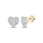 Mens Studs Natural Round/Baguette 0.44 Carats Diamond Solid 10Kt Yellow Gold Hip Hop Earrings