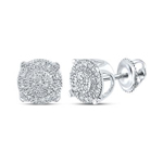 Stud Earrings For Men Natural Round 0.14 Carats Diamond Solid 10Kt White Gold Hip Hop Earrings