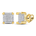 Gold Earrings For Men Natural Round 0.16 Carats Diamond Solid 10Kt Yellow Gold Hip Hop Earrings