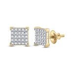 Diamond Earrings For Men Natural Round 0.15 Carats Diamond Solid 10Kt Yellow Gold Hip Hop Earrings