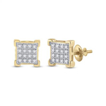 Diamond Studs For Mens Natural Round 0.1 Carats Diamond Solid 10Kt Yellow Gold Hip Hop Earrings
