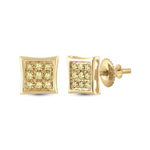 Diamond Earrings For Men Natural Round 0.05 Carats Diamond Solid 10Kt Yellow Gold Hip Hop Earrings