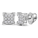Mens Studs Natural Round 0.05 Carats Diamond Solid 10Kt White Gold Hip Hop Earrings