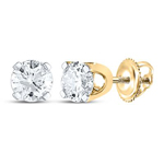 Half Carat Diamond Studs Round Solid Gold Solitaire Earrings