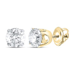 Half Carat Diamond Studs Earrings Round Solid Gold Solitaire Earrings