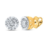 0.25 Carat Diamond Studs Earrings Round Solid Gold Solitaire Earrings