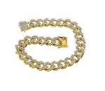 Mens Bracelet Natural 5 Carats Diamond Solid 10Kt Yellow Gold Hip Hop Bracelet 0.36 Inches