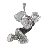 Popeye Hip Hop Pendant Natural 4.5 Carats Diamond Solid 10 Kt Yellow Gold Hip Hop Pendant 75Mm