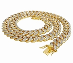 Mens Diamond Chains Natural 6 Carats Diamond Solid 10Kt Yellow Gold Cuban Link Mens Chains 20 Inches