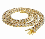 Diamond Chains Natural 6 Carats Diamond Solid 10Kt Yellow Gold Cuban Link Mens Chains 20 Inches