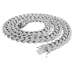 Hip Hop Gold Chains Natural 6 Carats Diamond Solid 10Kt White Gold Cuban Link Mens Chains 22 Inches