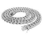 Mens Gold Chains Natural 8 Carats Diamond Solid 10Kt White Gold Cuban Link Mens Chains 20 Inches