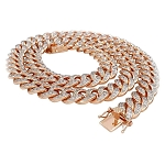 Mens Gold Chains Natural 11 Carats Diamond Solid 10Kt Rose Gold Cuban Link Mens Chains 22 Inches