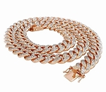 Mens Diamond Chains Natural 15 Carats Diamond Solid 10Kt Rose Gold Cuban Link Mens Chains 22 Inches