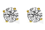 1/4Ct Round Cut Natural HI-SI Diamond Stud Earrings in 10K Yellow & White Gold