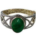 Antique Bracelets 4 Ct Uncut Natural Certified Diamond 5 Ct Emerald 925 Sterling Silver Weekend