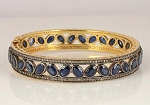 Art Deco Diamond Bracelet 4 Ct Uncut Natural Certified Diamond 16 Ct Blue Sapphire 925 Sterling Silver Vacation